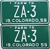 1959 Colorado Farm Tractor pair low # ZA-3, Custer County