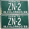 1959 Colorado Farm Tractor pair low # ZN-2, Hinsdale County