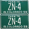 1959 Colorado Farm Tractor pair low # ZN-4, Hinsdale County