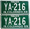 1959 Colorado Truck pair low # YA-216, Costilla County