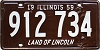 1959 ILLINOIS old license plate # 912 734