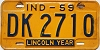 1959 INDIANA license plate # DK 2710