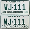 1960 Colorado Farm Tractor pair # WJ-111, Rio Grande County