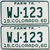 1960 Colorado Farm Tractor pair # WJ-123, Rio Grande County