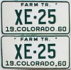 1960 Colorado Farm Tractor pair # XE-25, Alamosa County