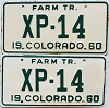 1960 Colorado Farm Tractor pair # XP-14, Lincoln County