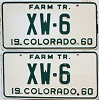 1960 Colorado Farm Tractor pair # XW-6, Crowley County