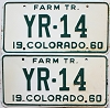 1960 Colorado Farm Tractor pair # YR-14, Cheyenne County