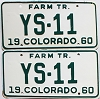 1960 Colorado Farm Tractor pair # YS-11, Douglas County