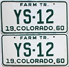 1960 Colorado Farm Tractor pair #YS-12, Douglas County