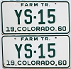 1960 Colorado Farm Tractor pair #YS-15, Douglas County