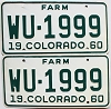 1960 Colorado Farm Truck pair # WU-1999, Kit Carson County