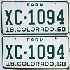 1960 Colorado Farm Truck pair #XC-1094, Bent County