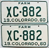 1960 Colorado Farm Truck pair # XC-882, Bent County