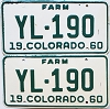 1960 Colorado Farm Truck pair #YL-190, Teller County