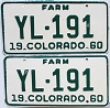 1960 Colorado Farm Truck pair #YL-191, Teller County