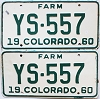 1960 Colorado Farm Truck pair #YS-557, Douglas County