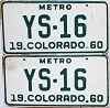 1960 Colorado Metro pair #YS-16, Douglas County