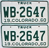 1960 Colorado Truck pair #WB-2647, Montrose County