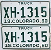 1960 Colorado Truck pair #XH-1315, Chaffee County