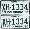 1960 Colorado Truck pair #XH-1334, Chaffee County