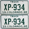 1960 Colorado Truck pair #XP-934, Lincoln County