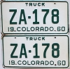 1960 Colorado Truck pair #ZA-178, Custer County