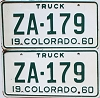 1960 Colorado Truck pair #ZA-179, Custer County