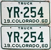 1960 Colorado Truck pair # YR-254, Cheyenne County