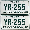 1960 Colorado Truck pair # YR-255, Cheyenne County