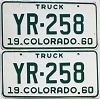 1960 Colorado Truck pair # YR-258, Cheyenne County
