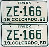 1960 Colorado Truck pair # ZE-166, San Juan County