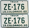 1960 Colorado Truck pair # ZE-176, San Juan County