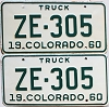 1960 Colorado Truck pair # ZE-305, San Juan County