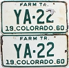 1960 Colorado Farm Tractor pair # YA-22, Costilla County
