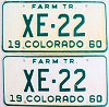 1960 Colorado Farm Tractor pair low # XE-22, Alamosa County