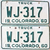 1960 Colorado Truck pair # WJ-317, Rio Grande County