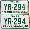 1960 Colorado Truck pair # YR-294, Cheyenne County