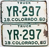 1960 Colorado Truck pair # YR-297, Cheyenne County