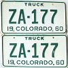 1960 Colorado Truck pair # ZA-177, Custer County