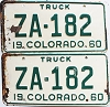 1960 Colorado Truck pair # ZA-182, Custer County