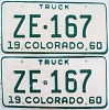 1960 Colorado Truck pair # ZE-167, San Juan County