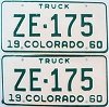 1960 Colorado Truck pair # ZE-175, San Juan County