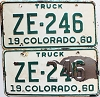 1960 Colorado Truck pair # ZE-246, San Juan County