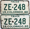 1960 Colorado Truck pair # ZE-248, San Juan County