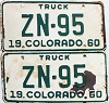 1960 Colorado Truck pair # ZN-95, Hinsdale County