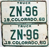 1960 Colorado Truck pair # ZN-96, Hinsdale County