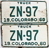 1960 Colorado Truck pair # ZN-97, Hinsdale County