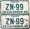1960 Colorado Truck pair # ZN-99, Hinsdale County