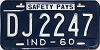 1960 INDIANA license plate # DJ2247
